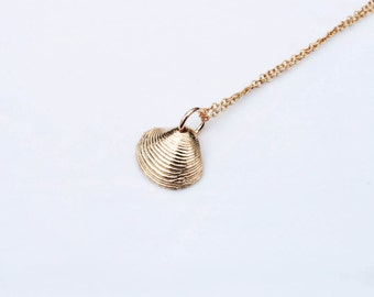 Tiny Solid Gold Shell Necklace
