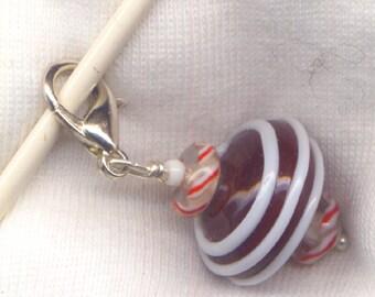 Chocolate Bonbon Stitch Marker Clip Christmas Candy Lampwork Peppermint Each/ SM12D