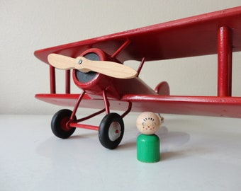 VINTAGE handmade red WOOD model AIRPLANE - red biplane - childrens nursery room decor - handmade airplane - vintage airplane