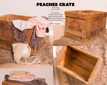 Peaches Crate 17x11x11 very sturdy tan bonnet cream stretch wrap peach stretch wrap sherbert cheesecloth wrap brown layering piece