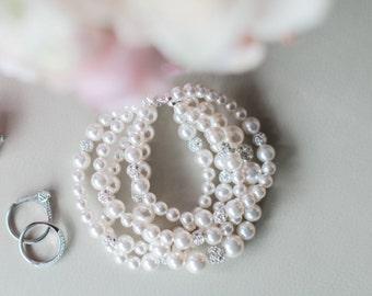 Pearl Bridal Bracelet, Wedding Jewelry Bracelet, Statement Bridal Cuff Bracelet, Bridal Jewellery
