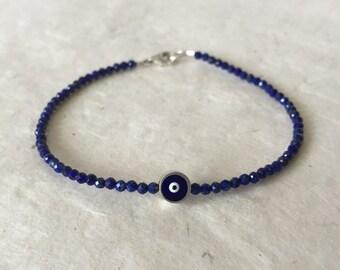 Lapis Lazuli Evil Eye Silver Beaded Bracelet, Boho Stack Bracelet, Layering Bracelet