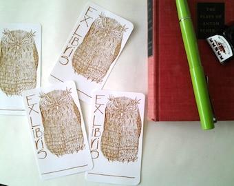 Bookplates, Grumpy Owl Bookplates, bookplate set