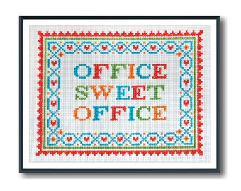 Modern Cross Stitch - Office Sweet Office Cross Stitch Pattern by Tiny Modernist