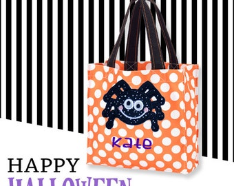 Personalized Halloween Candy Tote Bag with Spider Design / 3 Bag Print Choices