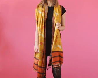 NEW Yellow orange scarf Silk stole Indian Dupatta Traditional scarf handloom Women stole Wedding accessories Ethnic scarf Bridesmaid stoles