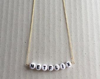 Gold filled NETFLIX necklace