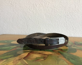 Brown Leather Skinny Belt Distressed