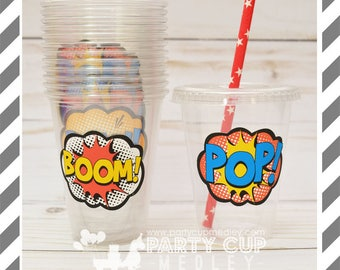 Super Hero Party Cups, Lids & Straws or Favor Cups with Dome Lids