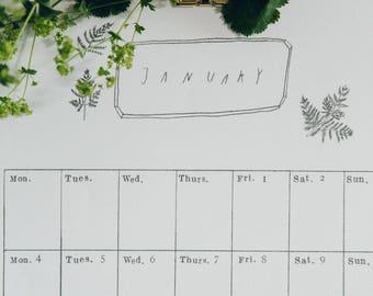 2018 Monthly Wall Calendar - Digital