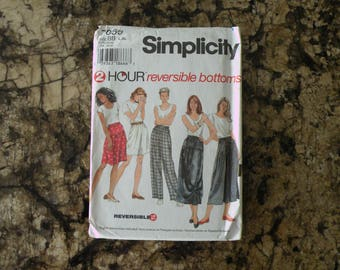 1996 UnCut Simplicity Pattern 7059 Misses Reversible Pants, Shorts, and Skirt Size Large and Extra Large