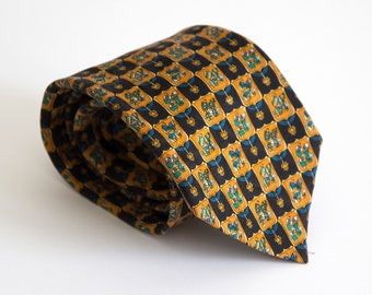 Vintage silk tie, equestrian mens necktie, silk neck tie, mens neck tie cravat cravatte / black blue orange