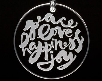 Holiday Spirit Etched Glass Ornament