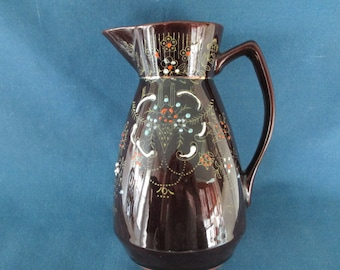 Vintage Brown Moriage Pottery Milk Syrup Pitcher Marked Serving Housewares Carafe Creamers Redware Earthenware