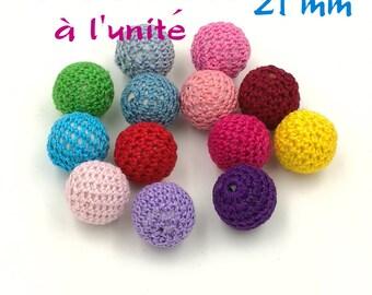 1 large bead Crochet green 21 mm