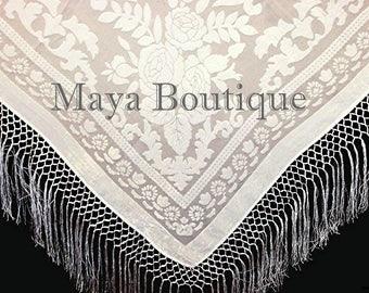 Ivory Silk Burnout Velvet Piano Shawl Fringe Wrap Scarf Maya Matazaro