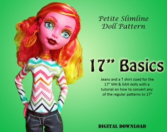 "Easy T Shirt and Pants doll clothes sewing pattern for 17"" Petite Slimline Fashion High Dolls: Frightfully Tall Monster, Giant Maddie"