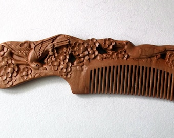 Chinese Tibetan Hand Carved Peach Wood Floral Nightingale Comb 7.25 in.