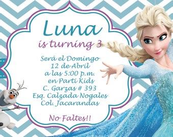 frozen elsa olaf invitation birthday invitation  heavy cardstock or digital