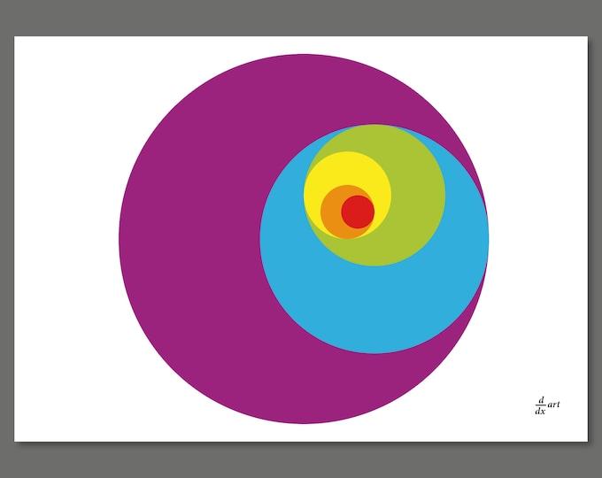 Golden Ratio Circles 01 [mathematical abstract art print, unframed] A4/A3 sizes