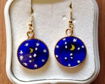 Golden Silver Earrings with Millefiori murrine 15 mm. Venetian