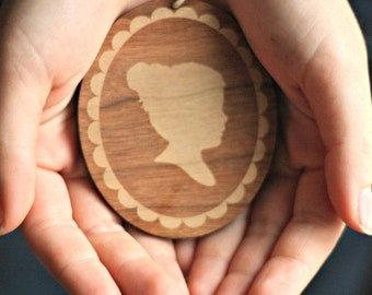 Custom Silhouette Wood Christmas Ornament made from your photo by Simply Silhouettes