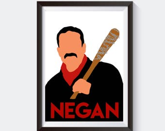 Walking Dead Negan Inspired Print Minimalist