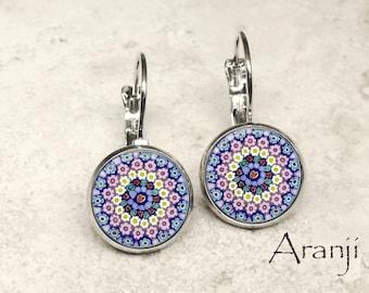 Glass dome millefiori art earrings, millefiori print earrings, leverback earrings, millefiori leverback earrings PA197LB