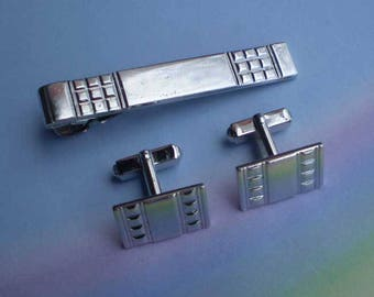 Vintage 60s MCM Cufflinks and Tie Clip Silvertone by Anson