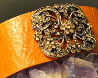 ON SALE,Leather Cuff Bracelet, Floral, Camel Leather Cuff, Citrine Swarovski Crystals, Brass, Wristband, Bohemian, Genuine Leather, Flowers