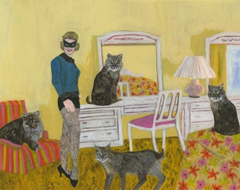 Barbara in the bedroom with bobcats.   Limited edition print by Vivienne Strauss.