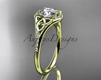 14kt  yellow gold diamond celtic trinity knot wedding ring, engagement ring  CT7126