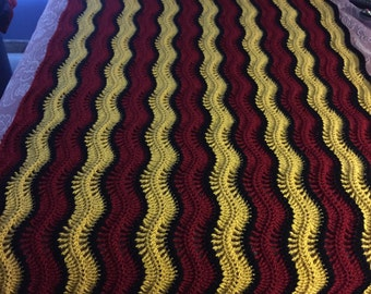 Cranberry & Gold Queen Size Afghan