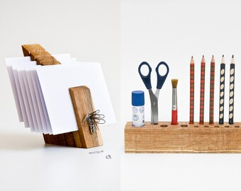 DESK ORGANIZER SET, Wooden Desk Set, Desktop Organizer, Wood Mail Organizer
