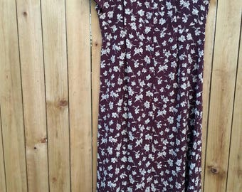 Brown/Maroon Floral Maxi Dress