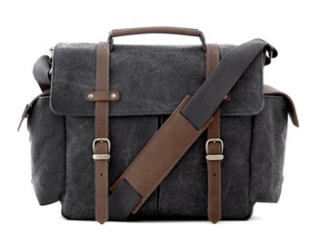 Camera Bag, School Bag, Messenger Bag, Shoulder Bag, Crossbody bag, Handbag, Travel Bag, Bag men, Bag women, Canvas Bag, Gray Canvas / TRAIL