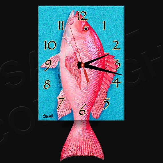 Red Snapper Clock with Swinging Tail Pendulum • Fish Clock • Deep Sea Fishing