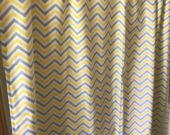 Yellow Gray and White chevron curtain panels choose size