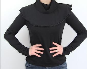 women long sleeve blouse, women black blouse, women clothing, turtleneck blouse, peplum black blouse, peplum top