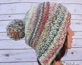 Knit Split Brim Beanie Pom Pom Hat Hand Dyed Hand Spun Ready to Ship Free Shipping