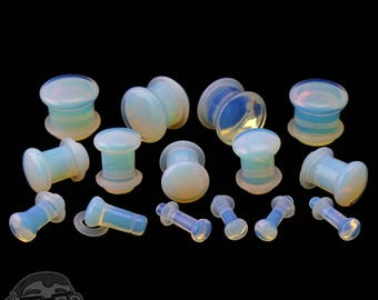 """Opalite Glass Plugs - Single Flare with Grooves Sizes / Gauges (8G - 1/2"""")"""