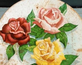 Shabby Large Rose Tin