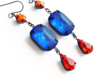 Frosted Glitter Earrings Vintage Matte Glass Rhinestones Royal Blue Red Orange Nail Polish Jewelry Matte Glass