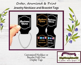 Black and Gold or Black and White Jewelry Tags, Jewelry Price Tags, Display Tags, Inspired for Necklace or Bracelet - Printable File