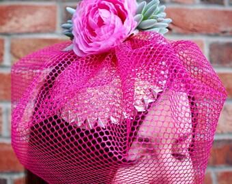 Pretty in pink fascinator, festival, wedding, occassion headpiece