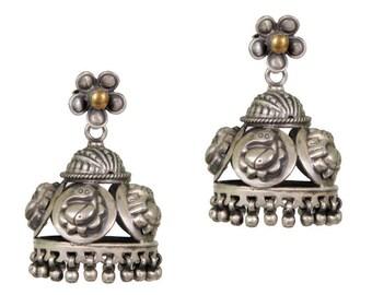 Sterling Silver Indian Ganesha Jhumki earrings