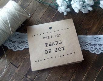 20 Tears of Joy Tissue Packs, Wedding Tissues, for tears of joy, happy Tears Packs, Happily Ever After,Customized tissue packs