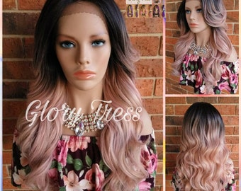 READY To SHIP // Long Glamorous Wavy Lace Front Wig, 100% Human Blend Wig, Ombre Blonde Wig, Free Parting//FLOWER