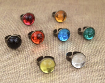 Globe Glass Dome Adjustable Cabochon Ring