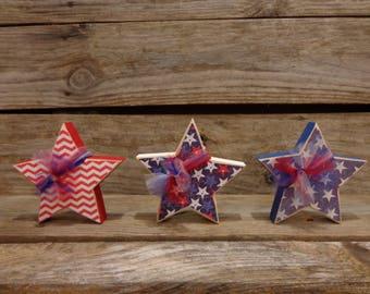 Summer Decor-4th of July Decor- USA Decor-Americana decor-Star Decor-Set of 3 stars